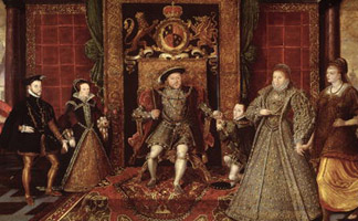 BAL72719 The Family of Henry VIII: An Allegory of the Tudor Succession, c.1570-75 (panel) by Lucas de Heere (1534-84)/ Sudeley Castle, Winchcombe, Gloucestershire, UK