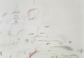 Untitled, 1961 (pencil, crayon and oil on paper) by Cy Twombly/ Private Collection