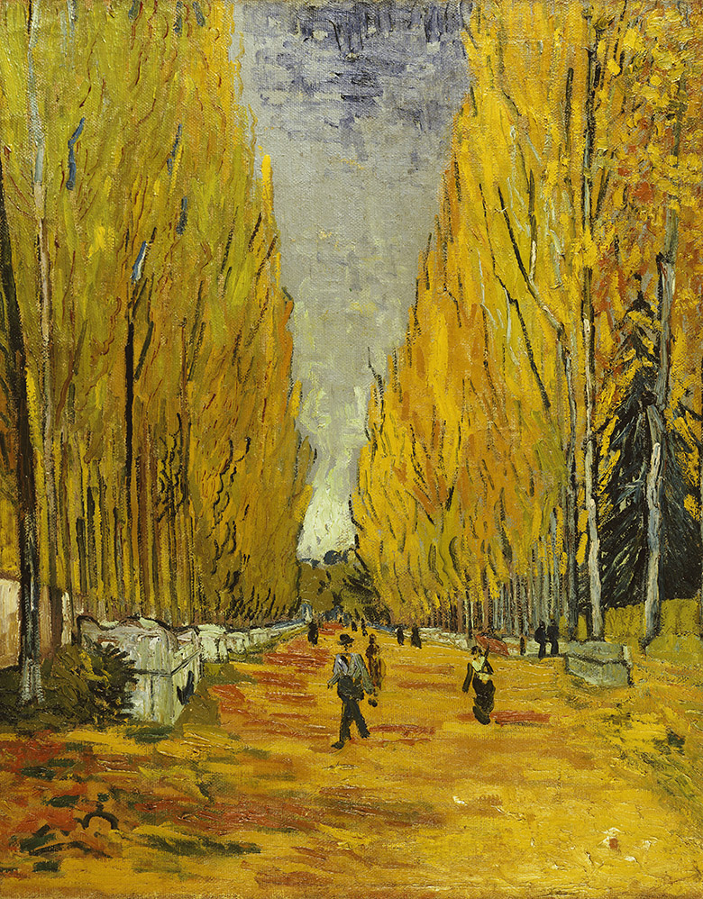 L'Allee des Alyscamps, Vincent vab Gogh (1853-90) / Private Collection / Photo © Christie's Images / Bridgeman Images
