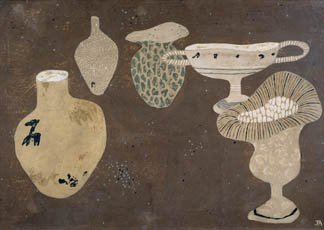 Vases, 1937 (tempera on gesso on board) by John Armstrong