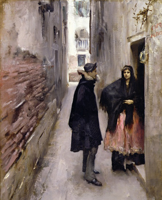CLK339904 A Street in Venice, c.1880-82 (oil on canvas) by John Singer Sargent (1856-1925)</BR>Sterling & Francine Clark Art Institute, Williamstown, USA