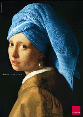 Vermeer's Girl with a Pearl Earring advertising Zucchi 'pure cotton on canvas' towel