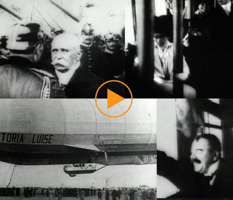 Ferdinand von Zeppelin at the flight of the Zeppelin LZ 11 Viktoria Luise in 1912 / Bridgeman Footage