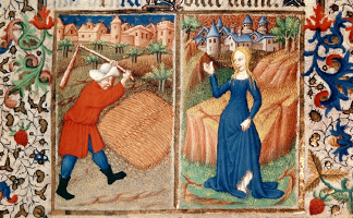 BL10658 Virgo: Threshing in August, from the Bedford Hours, 1414-23 (vellum)/ British Library, London, UK