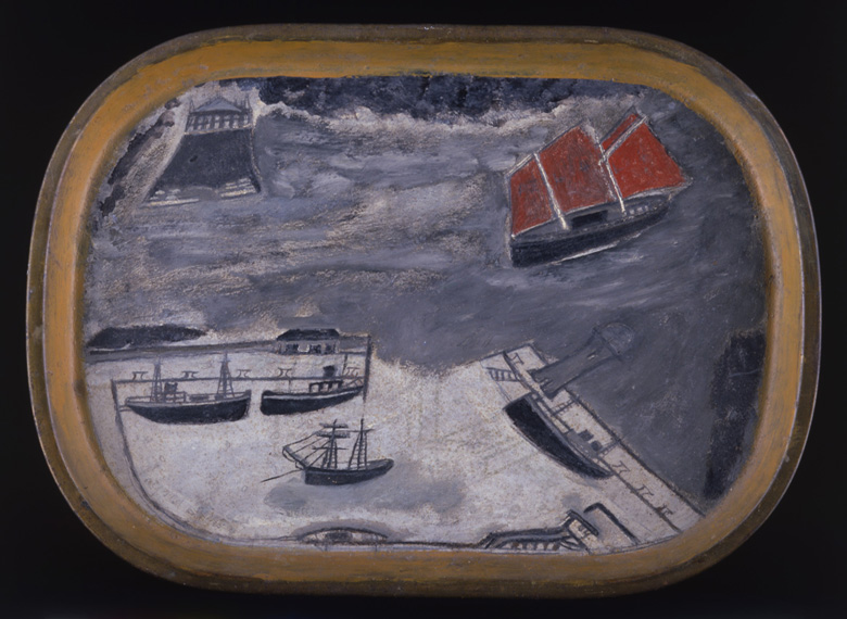 Schooner Approaching Harbour, c.1930 (oil on metal) by Alfred Wallis (1855-1942)