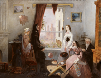 HIP372117 Fredericksburg family in a war torn house (oil on board) by American School, 19th century/ Gettysburg National Military Park Museum, Pennsylvania, USA/ Civil War Archive