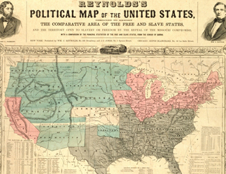 AKM210017 (detail) Reynold's Political Map of the United States, c. 1850 (colour litho)/ Atwater Kent Museum of Philadelphia, Courtesty of the Historical Society of Pennsylvania Collection