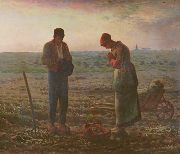 The Angelus, 1857-59 (oil on canvas) Jean-Francois Millet (1814-75) / Musee d'Orsay, Paris, France / Bridgeman Images