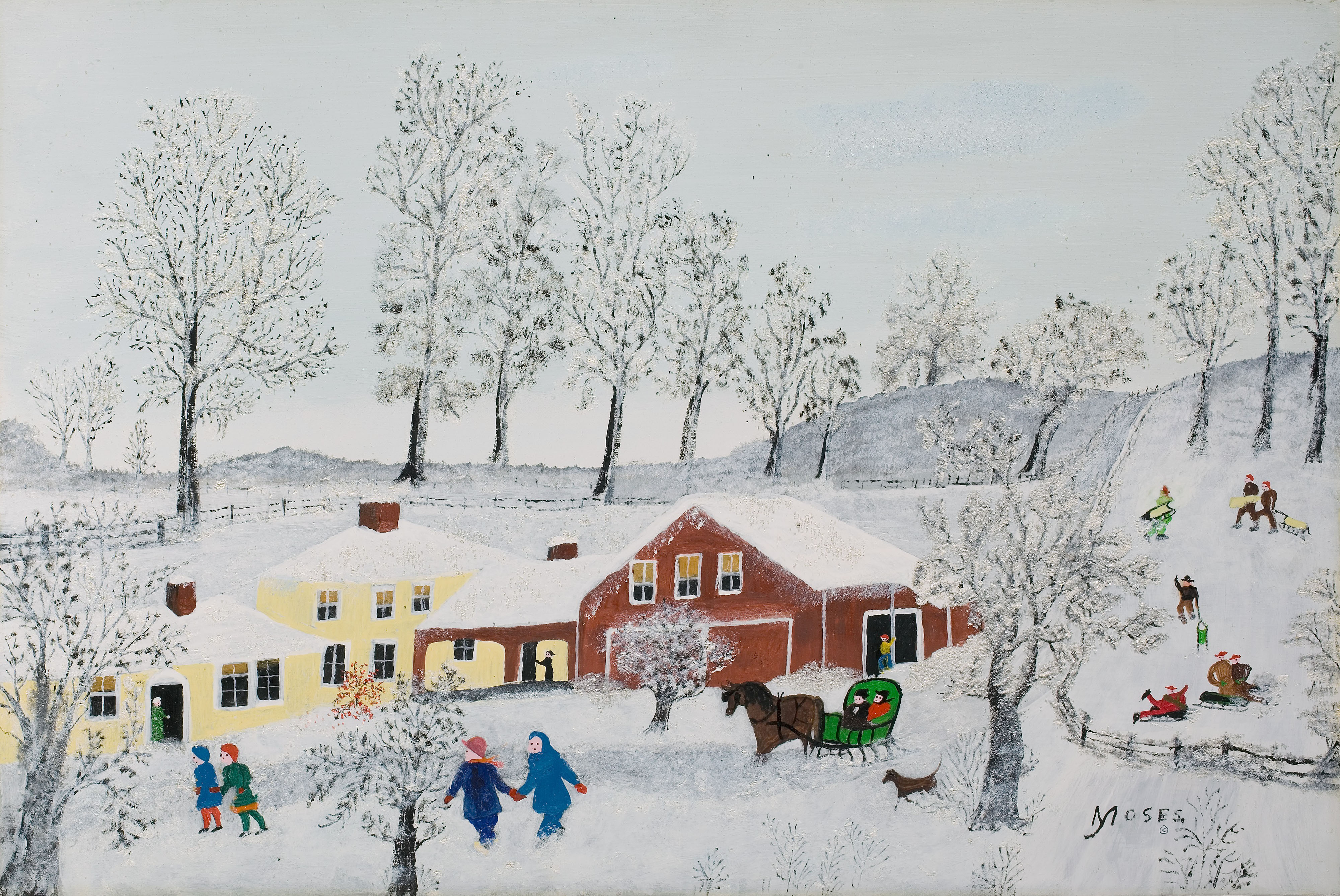 Yellow House, 1955 (oil on board) Anna Mary Robertson Moses (Grandma Moses) (1860-1961) / Davis Museum and Cultural Center, Wellesley College, MA, USA / Gift of Jeannette Austin Hosch Osgood (Class of 1930) / Bridgeman Images
