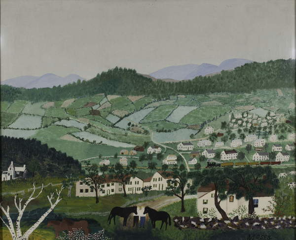 Cambridge, 1944 (oil on masonite) Anna Mary Robertson Moses (Grandma Moses) (1860-1961) / Shelburne Museum, Vermont, USA / Museum Purchase 1961 / Bridgeman Images