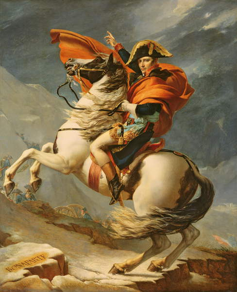Napoleon Crossing the Alps on 20th May 1800, (oil on canvas), (workshop of) Jacques Louis David (1748-1825) / Château de Versailles, France