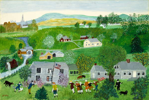 Summer Party (oil on masonite) Anna Mary Robertson Moses (Grandma Moses) (1860-1961) / Museum of Fine Arts, Houston, Texas, USA / Wintermann Collection of American Art, gift of Mr. and Mrs. David R. Wintermann / Bridgeman Images