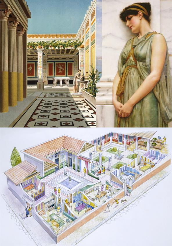Montage of images and pictures of artists' reconstruction of the lats days of Pompeii