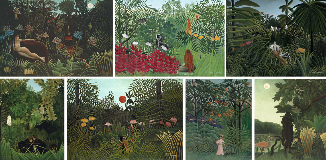 A selection of Henri Rousseau images licensed for use in the documentary. From top left clockwise: The Dream (Le Douanier), 1910 (oil on canvas) / Museum of Modern Art, New York, USA; Tropical Forest with Monkeys, 1910 (oil on canvas) / National Gallery of Art, Washington DC, USA;  Jaguar Attacking a Horse, 1910 (oil on canvas) / Pushkin Museum, Moscow, Russia; The Snake Charmer, 1907 (La Charmeuse de serpents) (oil on canvas), Rousseau, / Musee d'Orsay, Paris, France; Woman Walking in an Exotic Forest, 1905 (oil on canvas) / The Barnes Foundation, Philadelphia, Pennsylvania, USA; Man Attacked by a Jaguar, 1910 (oil on canvas) / Kunstmuseum, Basel, Switzerland​; The Merry Jesters, 1906 (oil on canvas) / Philadelphia Museum of Art, Pennsylvania, PA, USA, 1950. Henri J.F. Rousseau (1844-1910)