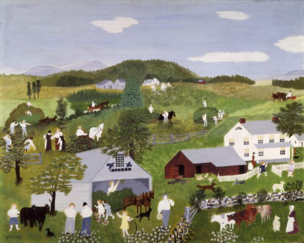 Haying Time, 1945 (oil on pressed wood), Anna Mary Robertson Moses (Grandma Moses) (1860-1961) / Private Collection / Kallir Research Institute © Grandma Moses Properties Co / Bridgeman Images