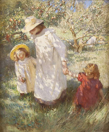 Image of the painting In the Orchard, 1908-09 (pencil & w/c), Laura Knight, (1877-1970) / Courtesy Patrick Bourne & Co., London / Bridgeman Images