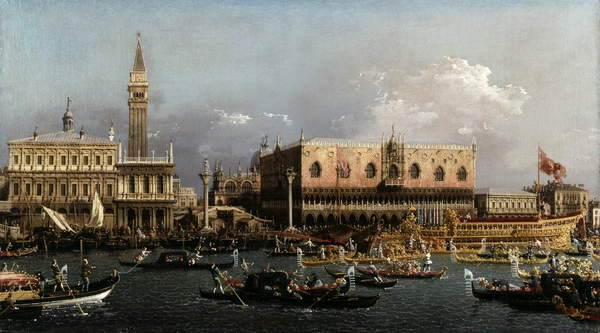 The Bucintoro at the Molo on Ascension Day (oil on canvas), Canaletto, (Giovanni Antonio Canal) (1697-1768) / Dulwich Picture Gallery, London, UK / Bridgeman Images