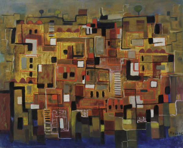 image of an artwork  representing a city, details:Untitled, c.1950 (oil on hardboard), Anneliese Everts, (1908-1967) / Private Collection / © Annaliese Everts / Bridgeman Images