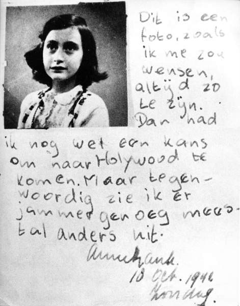 Photograph and writing of Anne Frank, 1942 (b/w photo), Dutch Photographer, (20th Century) / Private Collection / © Archives Charmet / Bridgeman Images