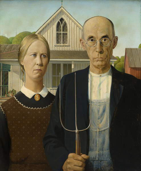 American Gothic, 1930 (oil on beaver board) , Wood, Grant (1891-1942) / The Art Institute of Chicago, IL, USA / Friends of American Art Collection / Bridgeman Images