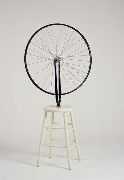 Bicycle Wheel, 1913/64 (bicycle wheel & fork mounted on stool), Duchamp, Marcel (1887-1968) / The Israel Museum, Jerusalem, Israel / Vera & Arturo Schwarz Collection of Dada and Surrealist Art / Bridgeman Images