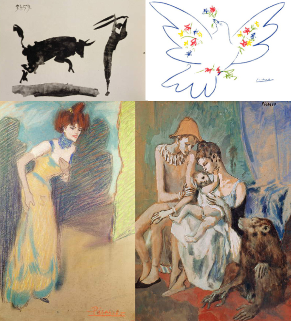 Montage of Pablo Picasso pictures on paper