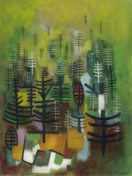 image of the abstract painting Young Forest Plantation, c.1955 (oil on hardboard), Anneliese Everts, (1908-1967) / Private Collection / © Annaliese Everts / Bridgeman Images