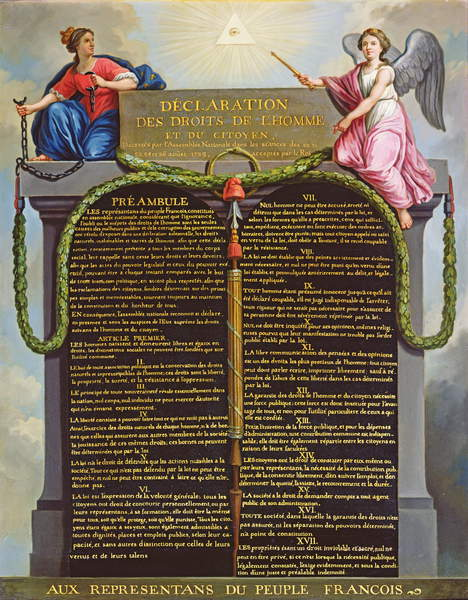 Declaration of Human and Civil Rights, 1789 (oil on canvas) (18th century) / Musée de la Ville de Paris, Musée Carnavalet, Paris, France / Bridgeman Images