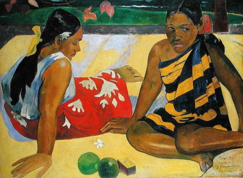 Parau Api (What's New?) 1892 (oil on canvas) by Gauguin, Paul (1848-1903)