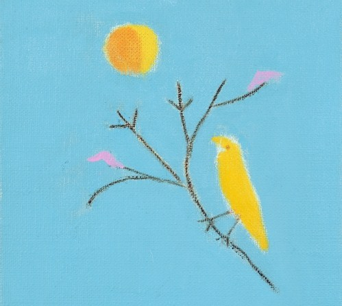 Small Yellow Bird, 2001 (oil on canvas) by Aitchison, Craigie (b.1926)